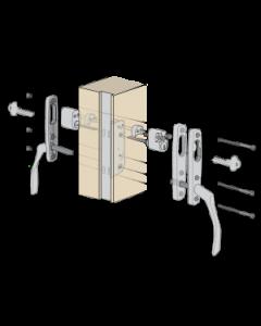 Komplett handtagspaket ASSA Vinga till altandörr med låsbar spanjolett - Låsbart från in- och utsidan