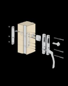 Komplett handtagspaket ASSA Vinga till altandörr med låsbar spanjolett - Fästbricka på utsidan - Låscylinder på insidan