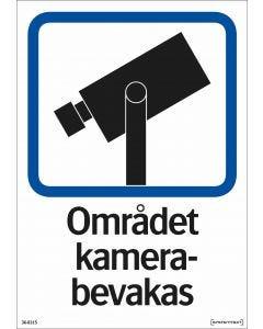 """Trivsel- och ordningsskylt """"Området kamerabevakas"""" självhäftande"""