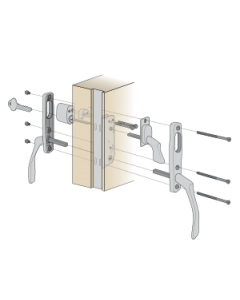 Komplett handtagspaket ASSA Vinga till altandörr med låsbar spanjolett - Låscylinder på utsidan - Spärrvred på insidan