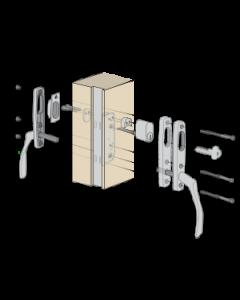 Komplett handtagspaket ASSA Vinga till altandörr med låsbar spanjolett - Täckbricka på utsidan - Låscylinder på insidan