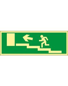 """Nöd- och utrymningsskylt """"Nödutgång trappa upp vänster"""""""