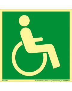 Skylt Nödutgång Handikapp Höger