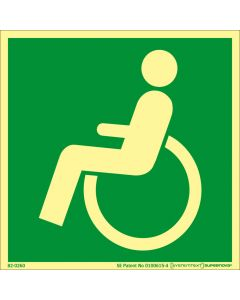 Skylt Nödutgång Handikapp Vänster