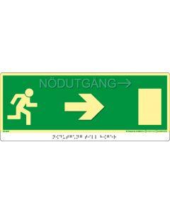 """Taktil nöd- och utrymningsskylt """"Nödutgång pil höger"""""""