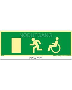 """Taktil nöd- och utrymningsskylt """"Nödutgång handikapp dörr vänster"""""""