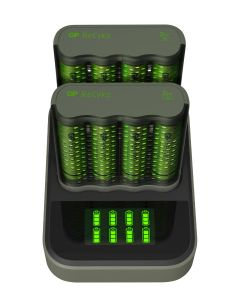 Laddstation GP ReCyko med 2 st batteriladdare och 8 st batterier