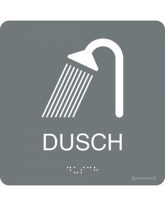 Taktil skylt Dusch Grå