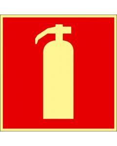 """Skylt """"Brandsläckare dubbelsidig"""" Färgefterlysande"""
