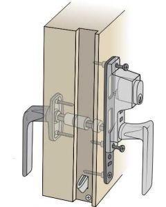 Komplett handtagspaket ASSA till altandörr med enkel båge