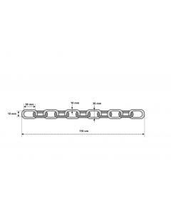Låskätting i klass 3  ABUS 10 KS 100 cm - Ritning med mått