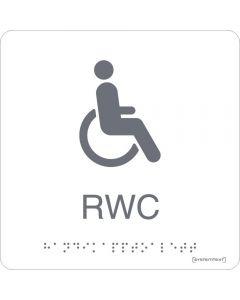 Skylt Taktil Rullstol WC Vit Systemtext