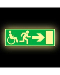 Skylt Nödutgång Handikapp Pil Höger