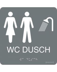 "Taktil skylt ""WC/Dusch Dam/Herr"" Grå"